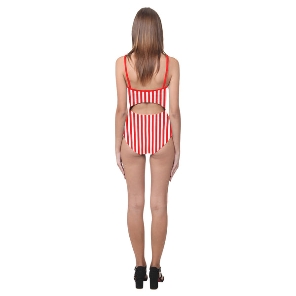 Candy Stripe Open Back Skinny One Piece Swimsuit