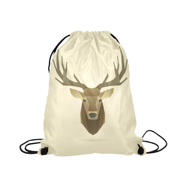 Deer Portrait Natural Drawstring Bag