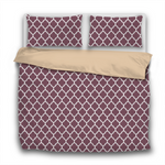 Duvet Set - 3pc Cover + Pillowcases - Dark Purple Burgundy Wine WO19 White Lattice Fig