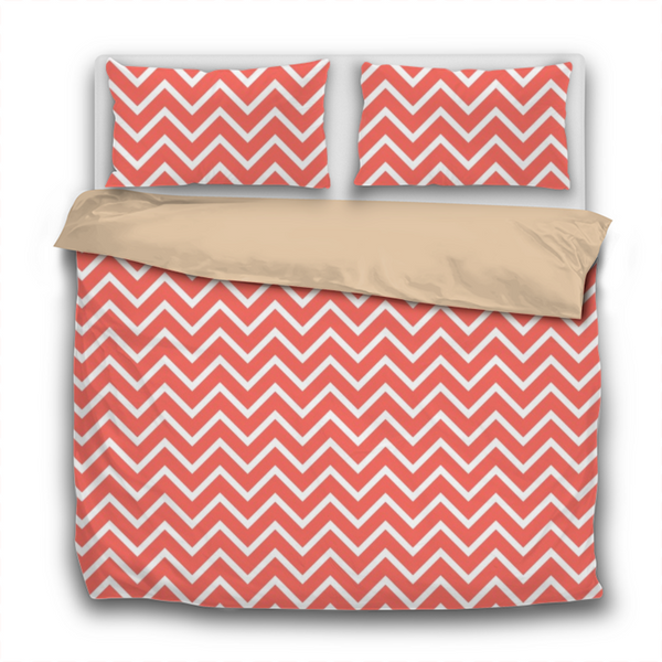 Duvet Set - 3pc Cover + Pillowcases - WO18 Pantone Color of the Year 2019 Living Coral White Chevron