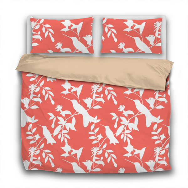 Duvet Set - 3pc Cover + Pillowcases - WO3 Pantone Color of the Year 2019 Living Coral White Hummingbirds
