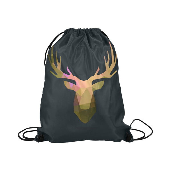 Deer Portrait Black Background Drawstring Bag