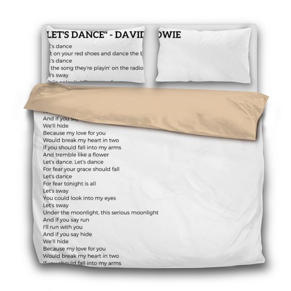 Duvet Set - 3pc Cover + Pillowcases - David Bowie Lets Dance Lyrics