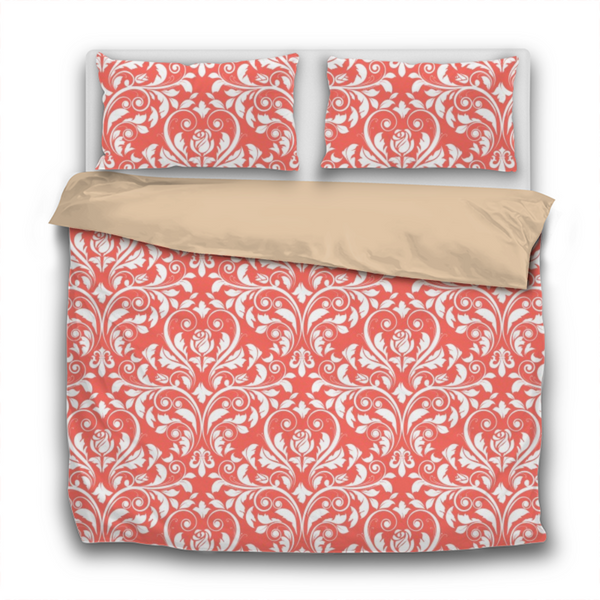 Duvet Set - 3pc Cover + Pillowcases - WO11 Pantone Color of the Year 2019 Living Coral White Baroque