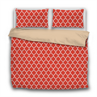 Duvet Set - 3pc Cover + Pillowcases - Muted Bright Red WO19 White Lattice Cherry Tomato