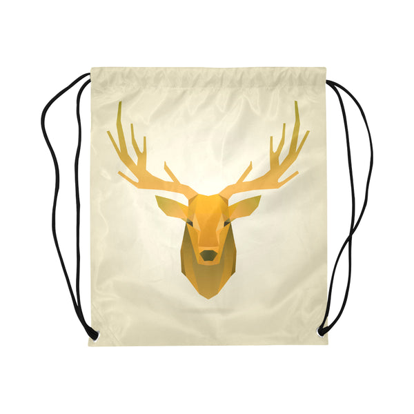 Deer Portrait Golden Drawstring Bag