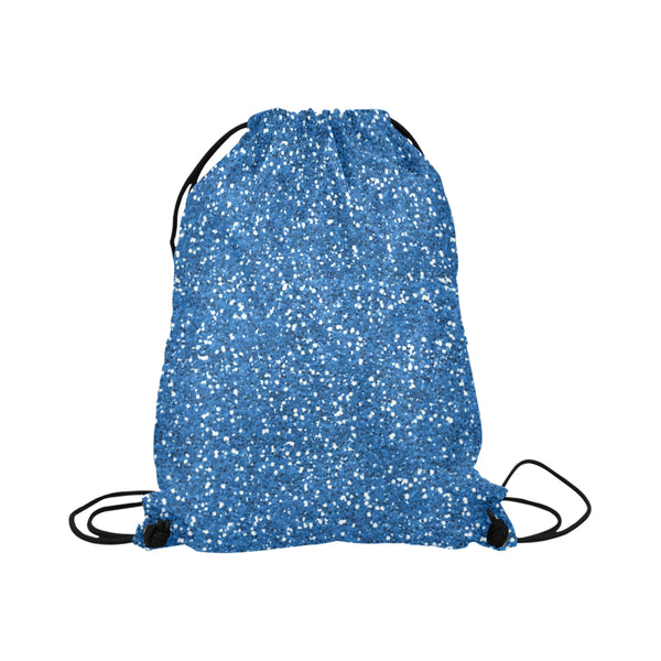 Blue Glitter Drawstring Bag