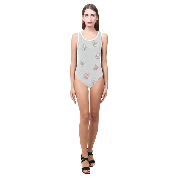 Falling Flowers Grey One Piece Tank Womens Swimsuit or Leotard