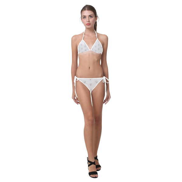 Grey Jewels Two Piece String Bikini - Triangle Top & Bottom with Ties