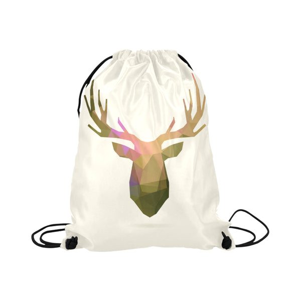 Deer Portrait Cream Background Drawstring Bag