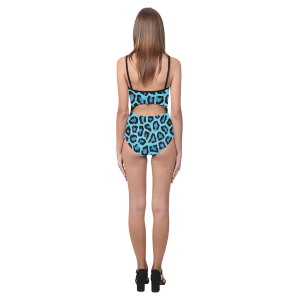 Blue Leopard Open Back Skinny One Piece Swimsuit