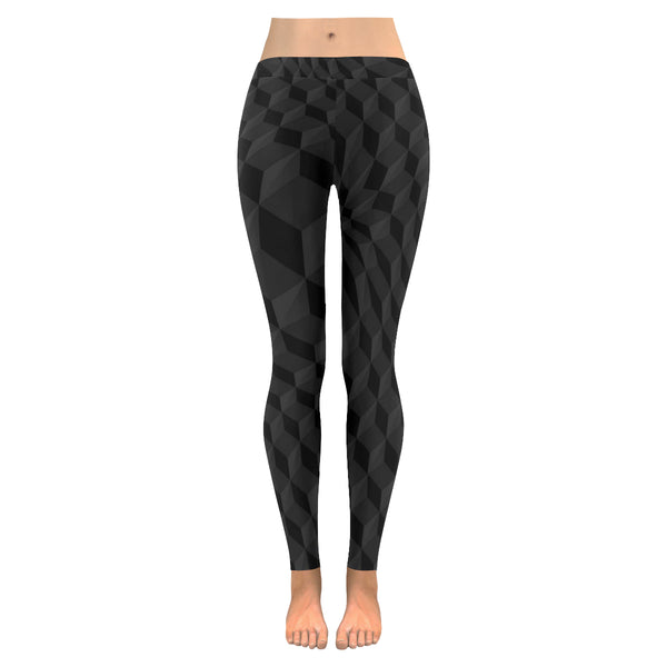 Black Cube All-Over Low Rise Leggings