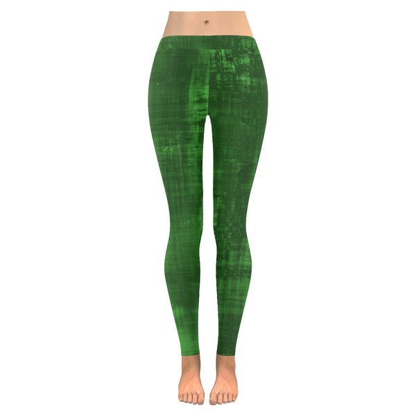 Abstract Green Low Rise Leggings