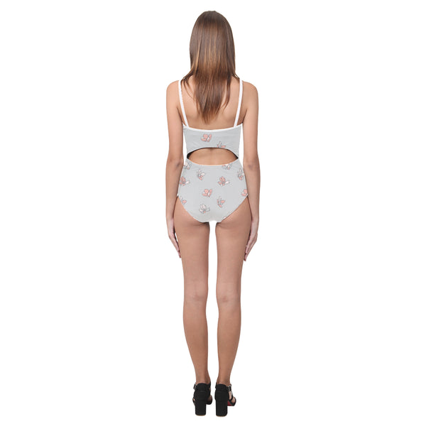 Falling Flowers Grey Open Back Skinny One Piece Swimsuit