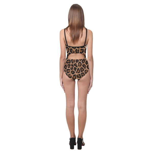 Leopard Print Open Back Skinny One Piece Swimsuit