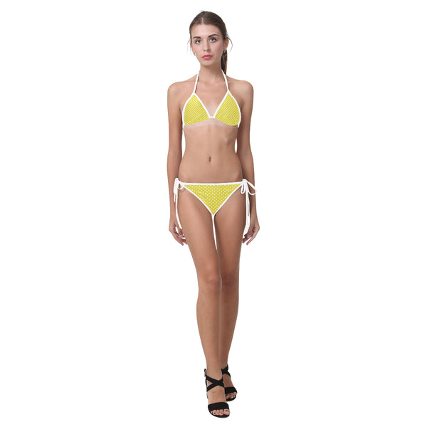 Yellow Polka Dot Bikini Two Piece Triangle Top & Bottom String Ties