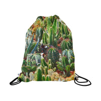Cactus Print Drawstring Bag