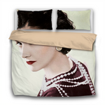 Duvet Set - 3pc Cover + Pillowcases - Coco Chanel Wearing Pearls