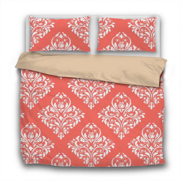 Duvet Set - 3pc Cover + Pillowcases - WO10 Pantone Color of the Year 2019 Living Coral White Damask