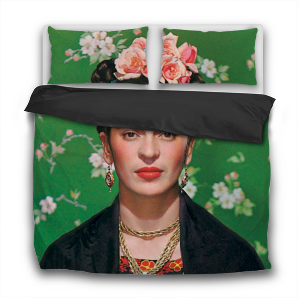 Duvet Set - 3pc Cover + Pillowcases - Frida Kahlo Portrait with Green Floral Background