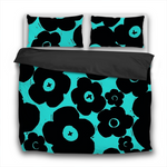 Duvet Set - 3pc Cover + Pillowcases - PFSY9 Woodcut Floral Black and Tiffany Blue