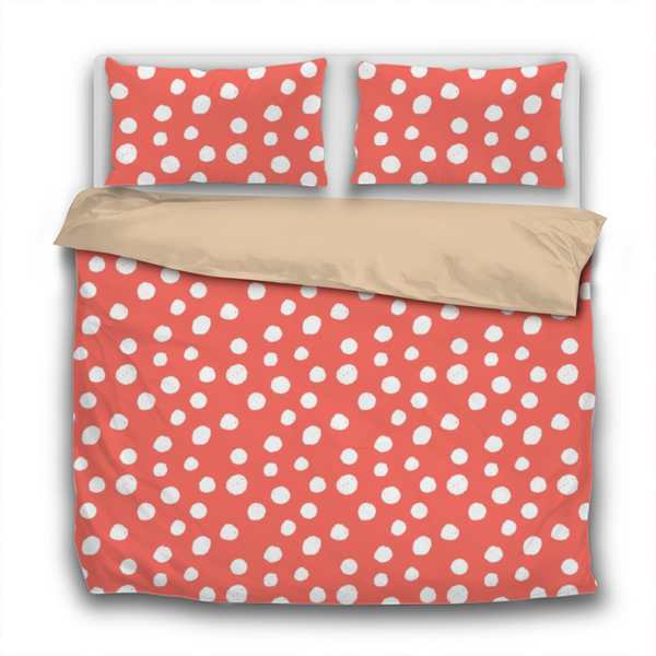 Duvet Set - 3pc Cover + Pillowcases - WO25 Pantone Color of the Year 2019 Living Coral White Spots