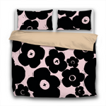 Duvet Set - 3pc Cover + Pillowcases - PFSY9 Woodcut Floral Black and Petal Pink