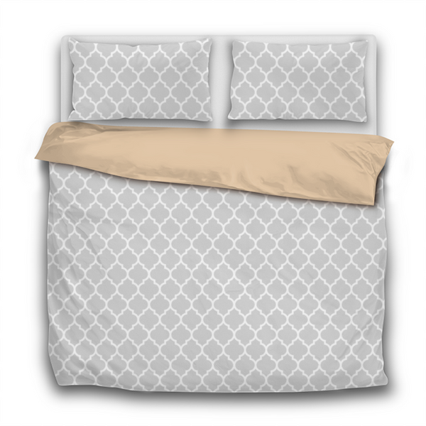 Duvet Set - 3pc Cover + Pillowcases - Pastel Pale Grey Gray WO19 White Lattice Light Cloud
