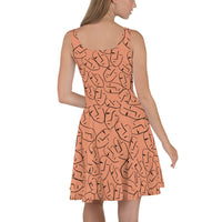 Skater Dress | Super Stretch Fabric | Full Flare Skirt | Bold Artist Design | Fashion Dance Sports Streetwear | HD3 Faces Abstract Terracotta Orange