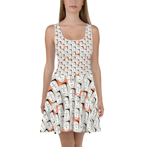 Skater Dress | Super Stretch Fabric | Full Flare Skirt | Bold Artist Design | Fashion Dance Sports Streetwear | HD12 Cubist Faces