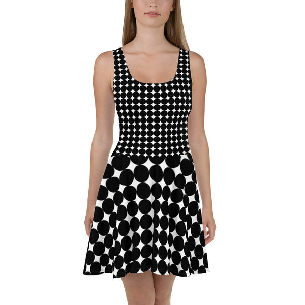 Skater Dress | Super Stretch Fabric | Full Flare Skirt | Bold Artist Design | Fashion Dance Sports Streetwear | GP121 Large Polka Dots