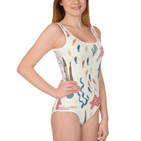 All-Over Print Youth Swimsuit with Scoop Neck Front and Back