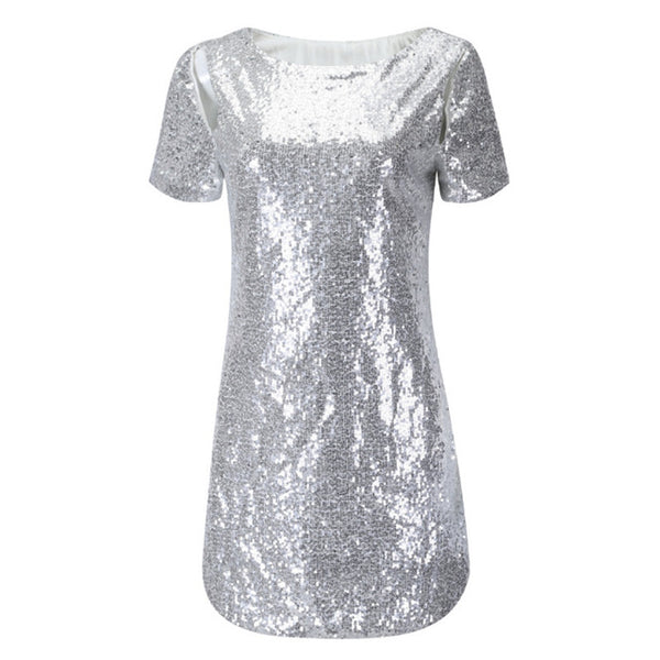 Sequinned Short Sleeve Backless Summer Dress Easy Fitting Straight Silver Gold Black Red Party Dress Low Back Ladies Dresses