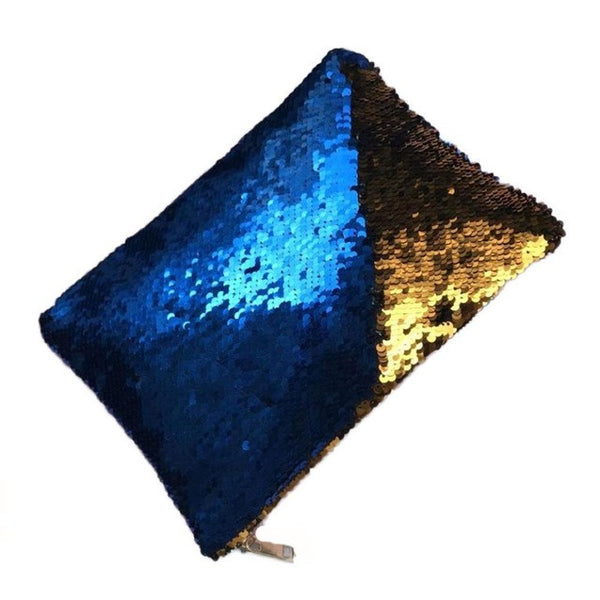 Double Color Sequin Clutch Purse | 3 Options: Blue + Copper, Crimson + Blue, Matte Gold + Bronze