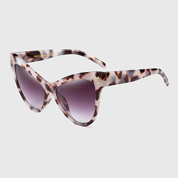 RG Solid Oversized Cat Eye Sunglasses | 6 Options: Black, Black Leopard, Leopard, Blue, Beige, Wine