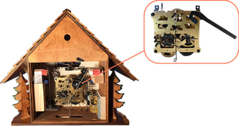 """a picture of the inside of a cuckoo clock to better answer """"Cuckoo Clock Mechanism """""""