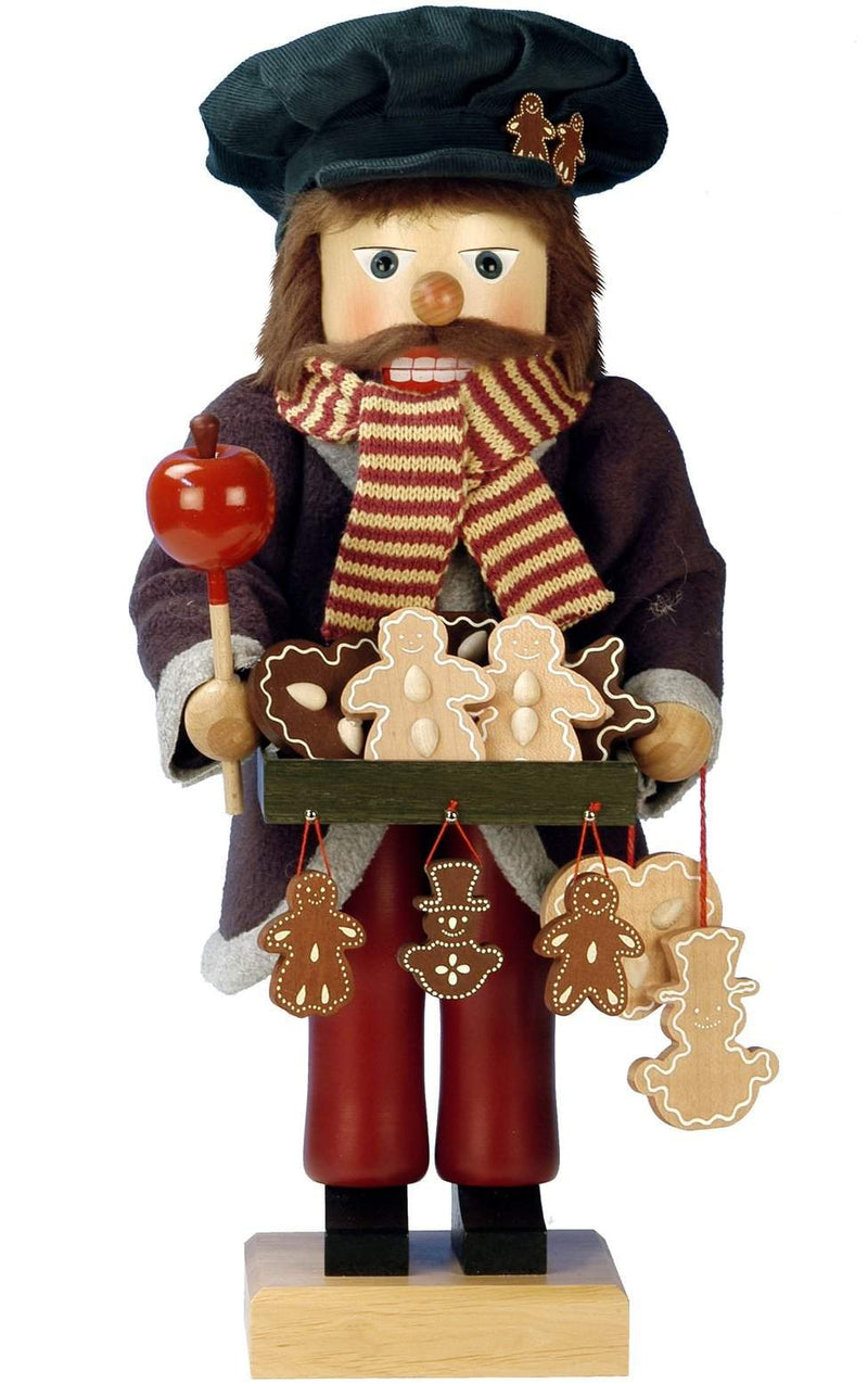 "Nutcracker - Gingerbread Vendor - Ltd Edition 1000 pcs - 18""H x 7.5""W x 7.5""D - German Cuckoo Clocks"