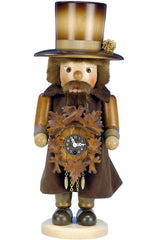 "Nutcracker - Clockmaker with Key-wound Clock (Natural) - 17""H x 6.5""W x 6.5""D - German Cuckoo Clocks"