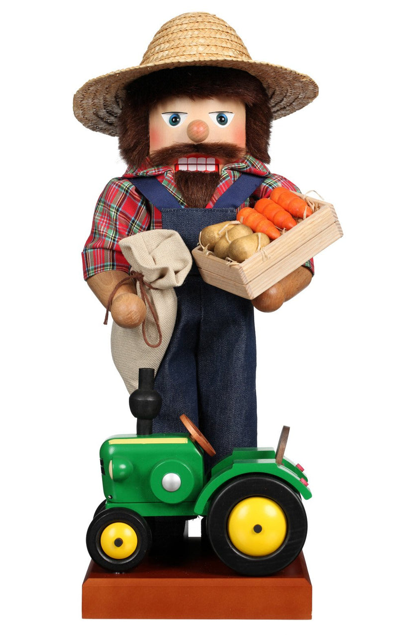 "Nutcracker - Farmer With Tractor - 17.75""H x 9""W x 8""D"