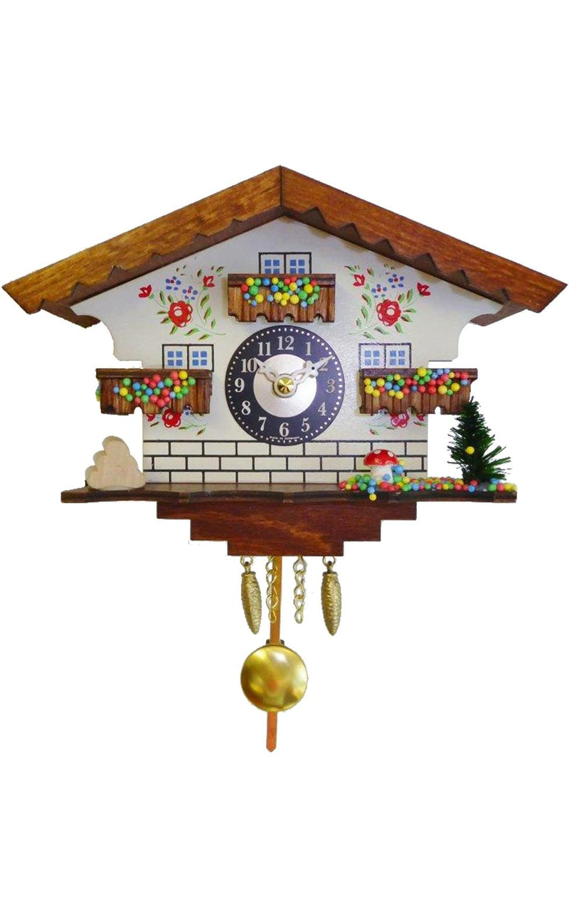"Battery-operated chalet Clock - Mini Size with Music/Chimes - 5.75""H x 7""W x 3.25""D - German Cuckoo Clocks"