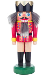 "Real German Nutcracker - Red King (two tone hair) - 8.25""H x 3""W x 2.5""D"