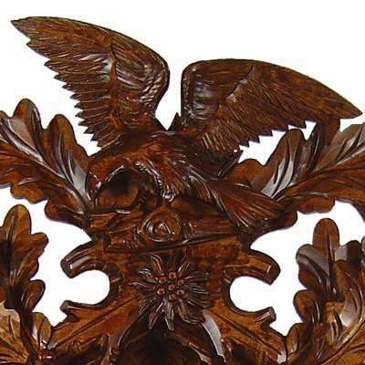 8 Day Musical Carved Clock Eagles Bears