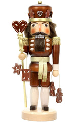 "Nutcracker - Gingerbread King (Natural) - 15""H x 6""W x 5.5""D - German Cuckoo Clocks"