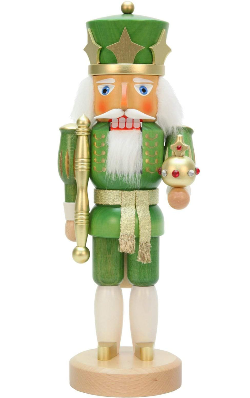 "Nutcracker - Green King - 14.75""H x 6.5""W x 6.5""D - German Cuckoo Clocks"