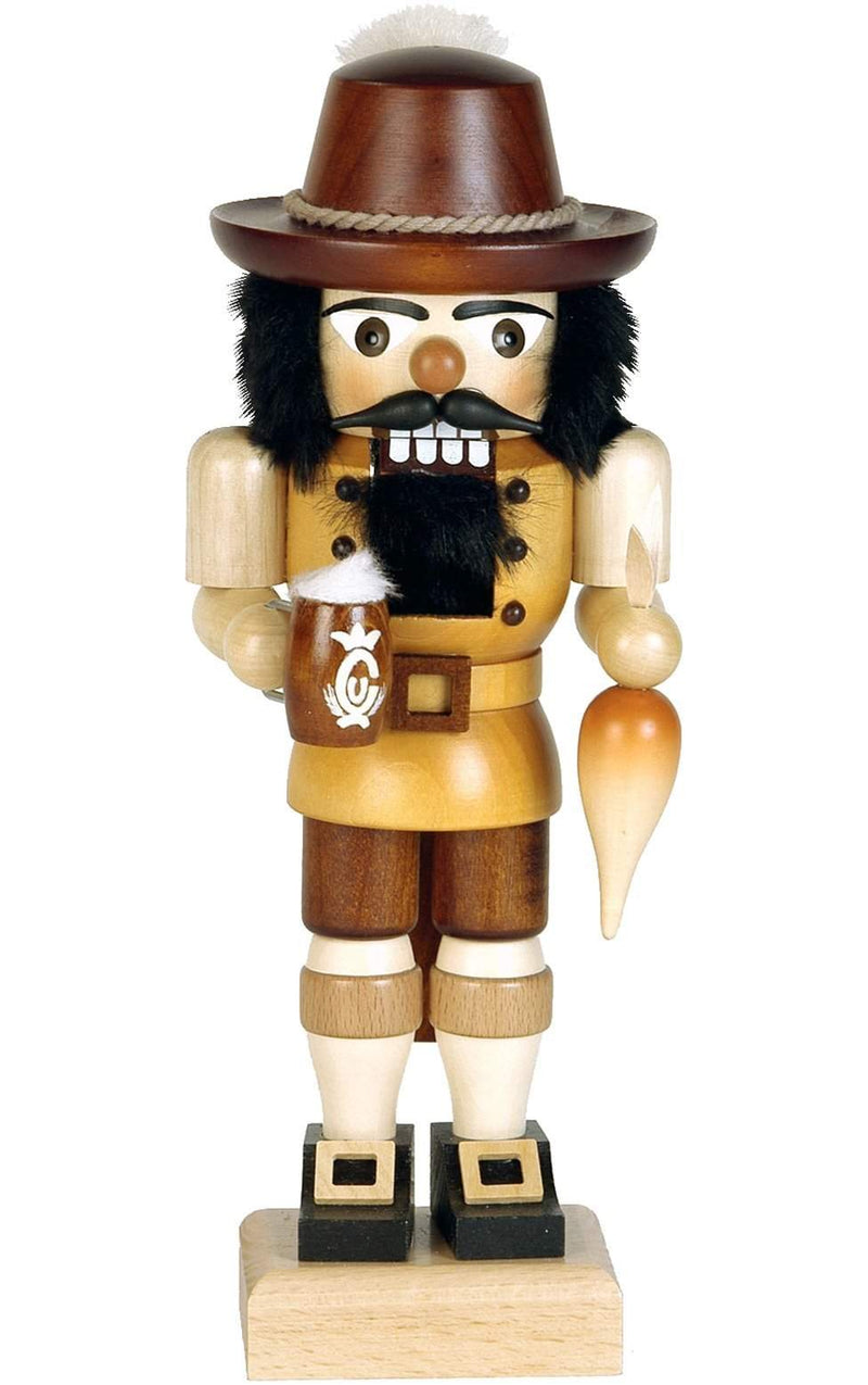 "Nutcracker - Bavarian (Natural) - 10""H x 4""W x 3""D - German Cuckoo Clocks"