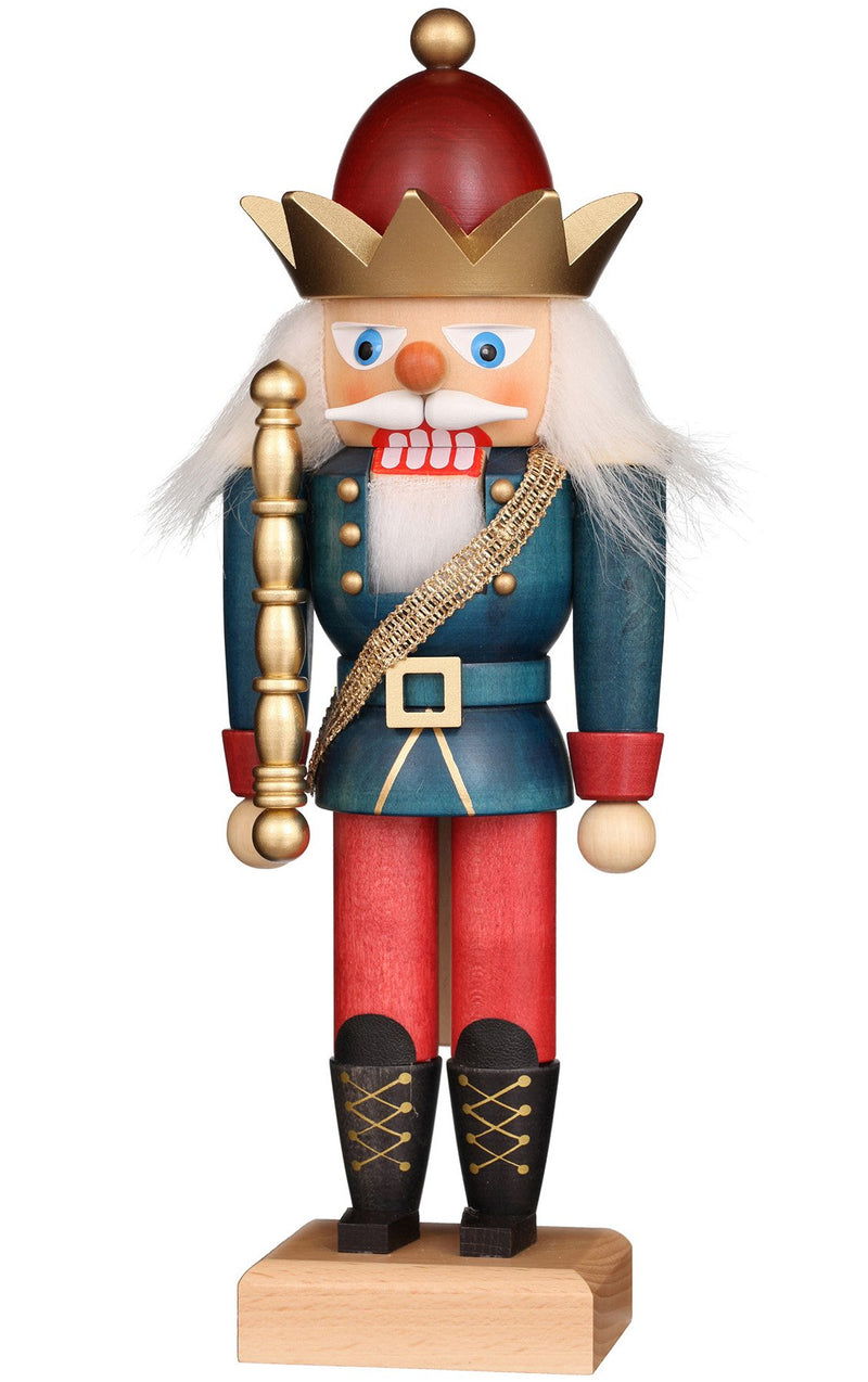 "Nutcracker - King (Red and Blue) - 11""H x 3.75""W x 3.5""D"