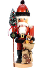 "Nutcracker - Santa with Teddy - 17.75""H x 6.5""W x 5.5""D - German Cuckoo Clocks"