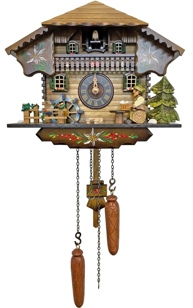 "Battery-operated chalet Clock - Full Size - 9""H x 10.5""W x 6.25""D - German Cuckoo Clocks"