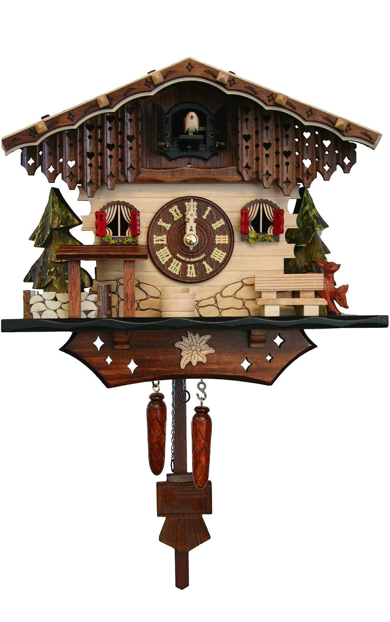 "Battery-operated Chalet Clock - Full Size - 8.5""H x 10""W x 6""D - German Cuckoo Clocks"