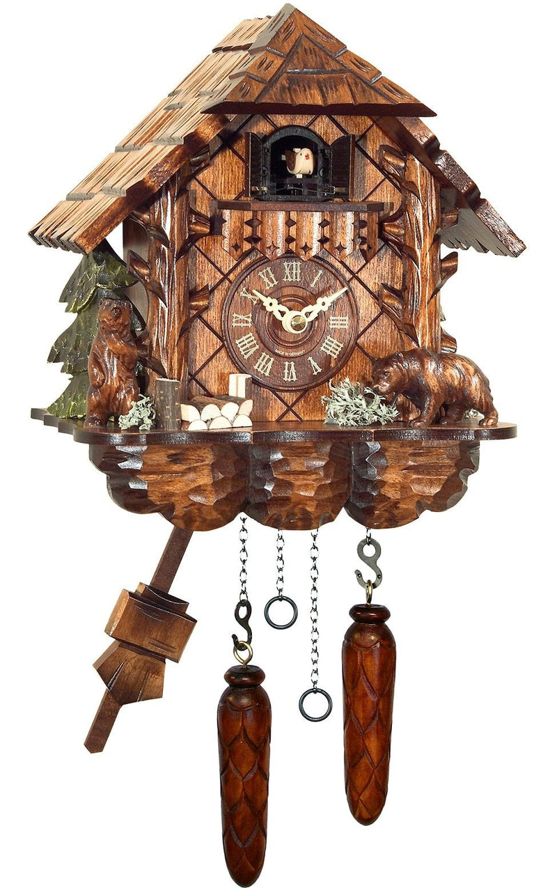 "Battery-operated Chalet Clock - Full Size - 9.75""H x 9""W x 6.25""D - German Cuckoo Clocks"
